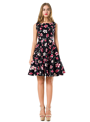floral cotton printed dress  ,  China garment factory ,  high quality garment